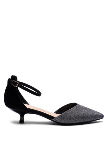 Twenty Eight Shoes 黑色 閃粉亮布尖頭空幫小踭鞋395-1 37389SH8672190GS_1