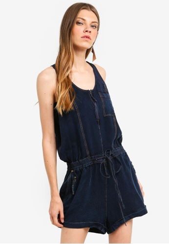 Brave Soul blue Woven Denim Look Playsuit With Zip Front B4474AA8AB77B6GS_1