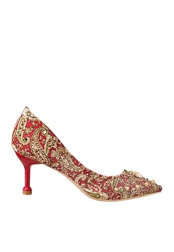 Twenty Eight Shoes 紅色 7cm 印花閃石晚裝及新娘鞋 VP162 3811BSH10E1D49GS_1