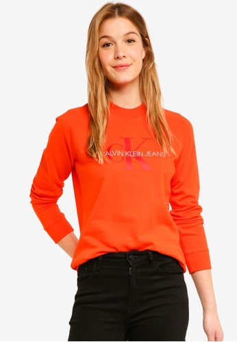 27cbb4d9045 Calvin Klein red A-Satin Monogram Rel Sweatshirt - Calvin Klein Jeans  AB9DDAAD887EBFGS 1