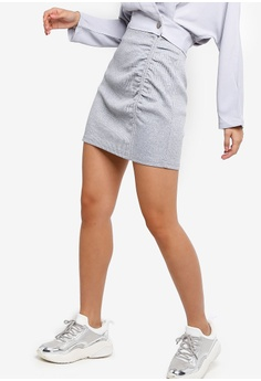 f843008f8 Something Borrowed grey Ruched Bodycon Mini Skirt 41934AABA087AAGS_1