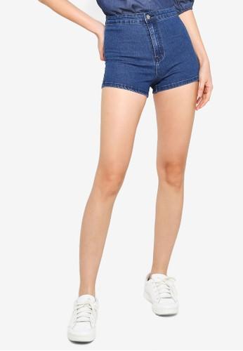 ZALORA BASICS blue Denim Stretch Shorts A453DAA68D49A2GS_1