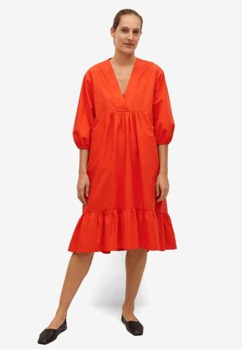 Mango orange Frill Cotton Dress E0A28AA8DACE2CGS_1