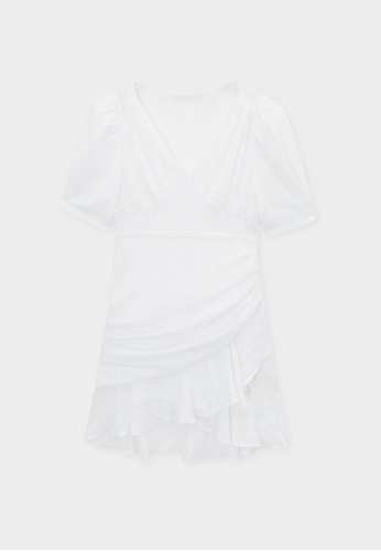 Pomelo white Ruffle Side Drape Checkered Dress - Off White 2DB44AA9A77332GS_1