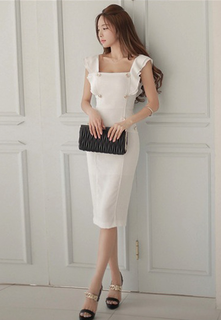 One Dress Style Piece Sheath New A060435 Sunnydaysweety Short Sleeve 2018 White White 086twZYqnx
