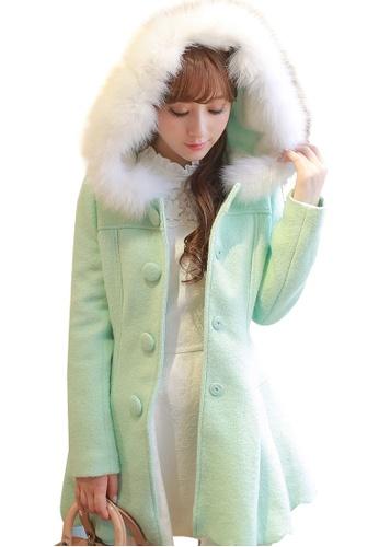 timeless design e64d9 b5293 Elegant Petal Green Winter Trench Coat Dress