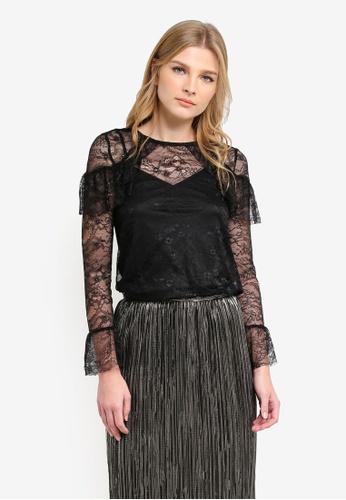 WAREHOUSE black Chantilly Lace Top WA653AA0S23EMY_1