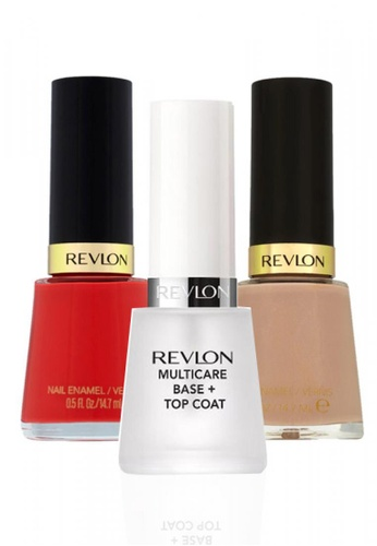 Revlon red and beige REVLON® NAIL ENAMEL SET - Revlon MultiCare Base + Top Coat™ + GARY SUEDE + FEARLESS RE737BE12CXZSG_1