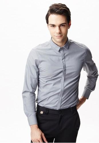 雅致商務。中華領出芽設計襯衫-11094-灰esprit outlet 台灣色, 服飾, 商務襯衫