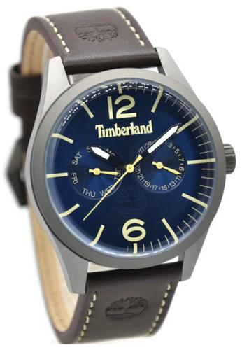 Timberland 15018JSU-03 Jam Tangan Pria Leather Strap Coklat Ring Silver Plat Biru