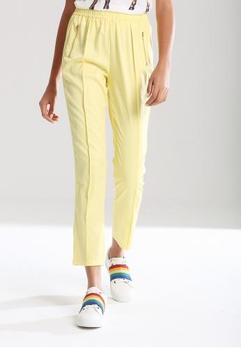 London Rag yellow Elastic Waist Pleated Pants 6258AAA01FCDB3GS_1