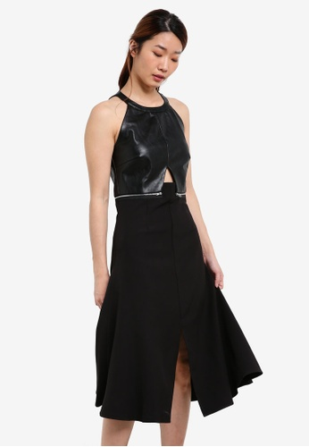 Something Borrowed black Patent Leather Halter Midi Dress 7195DAA84F9C3DGS_1