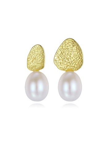 SUNRAIS gold High quality Silver S925 gold simple design earrings 1E210AC05D9E1FGS_1