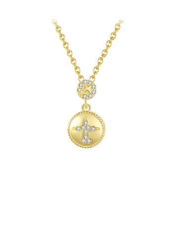 Glamorousky white 925 Sterling Silver Plated Gold Simple Personality Airplane Geometric Round Pendant with Cubic Zirconia and Necklace 73DF0ACA48F296GS_1
