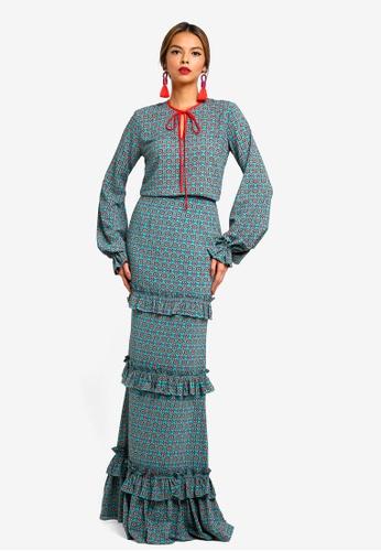 Syomirizwa Gupta for ZALORA green LOLA Modern Kurung 0254CAA7406E27GS_1