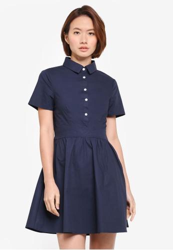 ZALORA navy Fit & Flare Shirt Dress FC2EDAA797938CGS_1