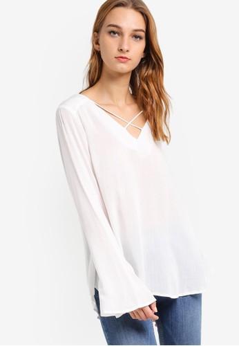 Callie 交叉帶zalora 衣服尺寸V 領長袖上衣, 服飾, 上衣