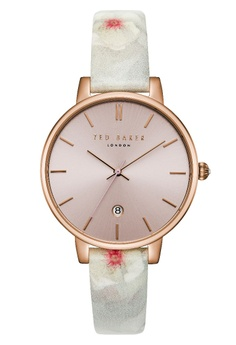 2e13b0bba TED BAKER white and pink Ted Baker Women's TEC0025004 Kate Rose gold toned Leather  Strap Watch
