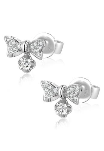 MaBelle silver 18K/750 White Color Gold Diamond Ribbon Earrings 6457DACA077496GS_1