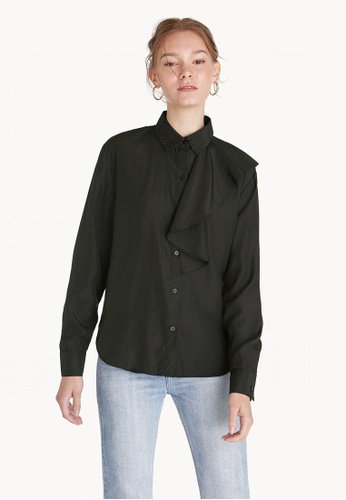 Pomelo black Button Up Front Ruffle Shirt - Black 3B98BAAA88A0C8GS_1