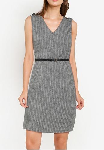 ZALORA WORK grey Sleeveless Sheath Dress With Belt 8CD65AAC9BCF69GS_1