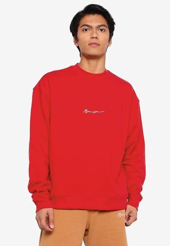 Mennace red Essential Signature Boxy Sweatshirt BDD3BAA79229E3GS_1