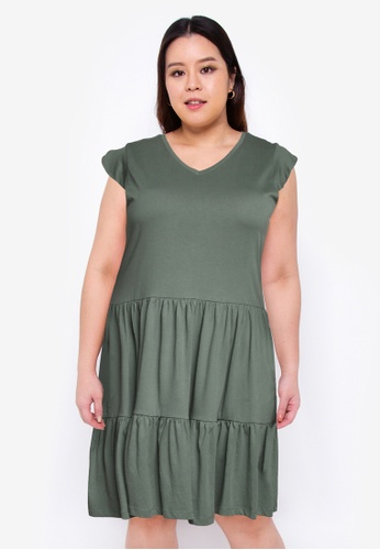 Only CARMAKOMA green Plus Size April Frill Dress F7D37AA6C26053GS_1