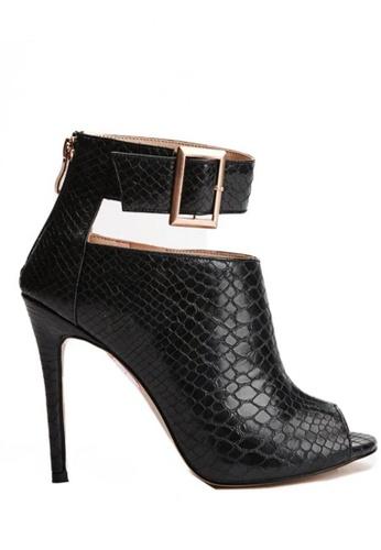 Glamorbit black Leska Snake Skin Leather Boots 6866CSHC59E2AEGS_1