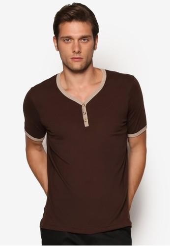 簡約亨利短袖上zalora 手錶衣, 服飾, 素色T恤