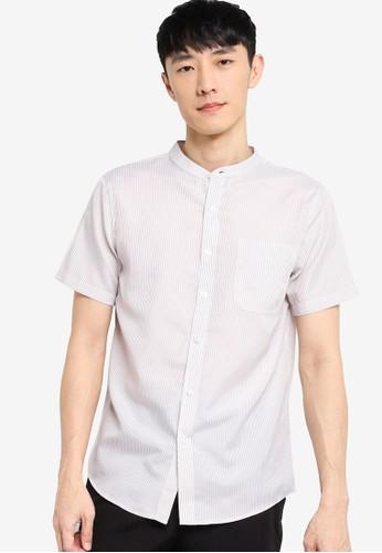 ZALORA BASICS white and beige Short Sleeve Stand Collar Shirt 21FABAAA332AA1GS_1