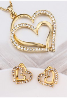 18k Gold Plated Double Heart Set
