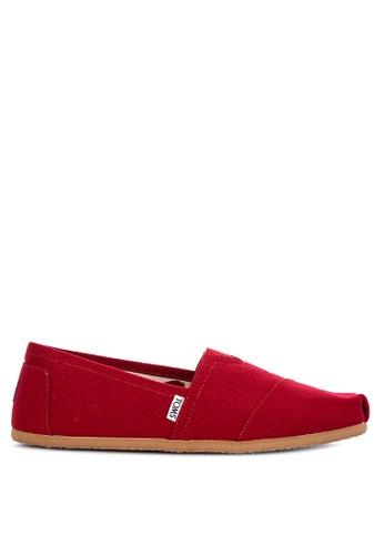 TOMS red Classic Alpargata Slip Ons 13BFFSHA786EF5GS_1