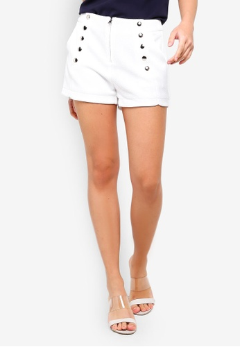 ZALORA white Button Details Shorts 2C6EBAA085146EGS_1