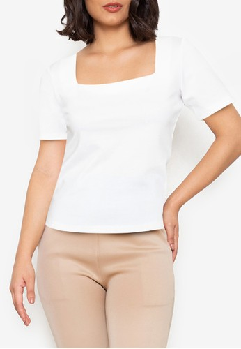 ZALORA WORK white Square Neck Fitted Top 4EEA3AA843D7EAGS_1