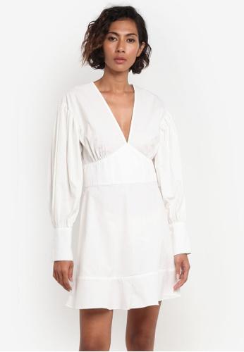 TOPSHOP white Poplin Balloon Sleeve Dress TO412AA0RMX6MY_1