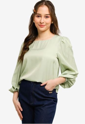 Lubna green Puffed Sleeve Top 71630AAC187FA9GS_1