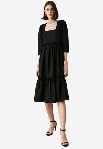 Trendyol black Square Neck Ruffle Tier Midi Dress 207AFAA2AA317FGS_1