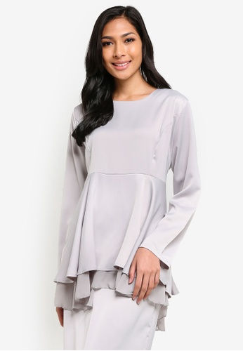 BYN grey 2 Layer Flare Peplum Blouse BY059AA35VKMMY_1