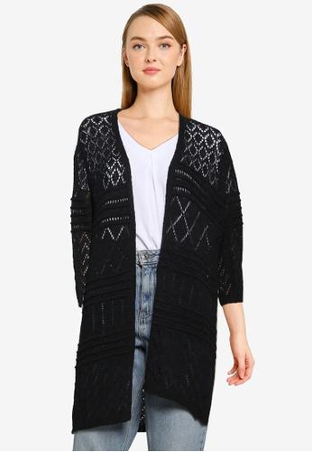 JACQUELINE DE YONG black Kobe 3/4 Knit Cardigan 8BF71AA0584139GS_1