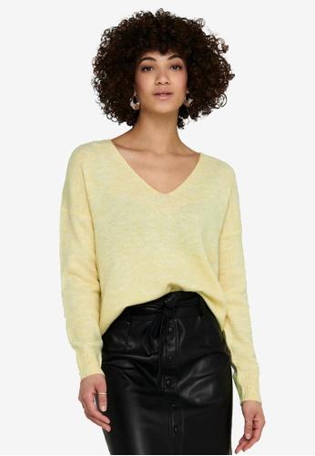 JACQUELINE DE YONG yellow Elanora Long Sleeve V-Neck Pullover B8246AA71356A7GS_1