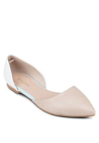 撞色側鏤空平底鞋, 女zalora 評價鞋, 芭蕾平底鞋