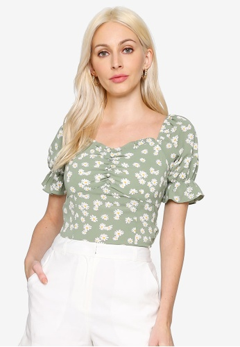 Hopeshow green Square Neck Floral Short Sleeve Chiffon Blouse 36C23AA293B44EGS_1