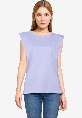 UniqTee purple Pleated Sleeveless Top E4FB2AABA02516GS_1