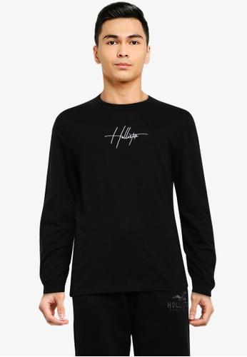 Hollister black Long Sleeve Script Tech Tee 68906AA3FD0A7BGS_1