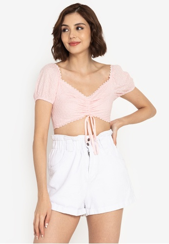 ZALORA BASICS pink Broderie Ruched Front Crop Top 40A72AA1847E0FGS_1