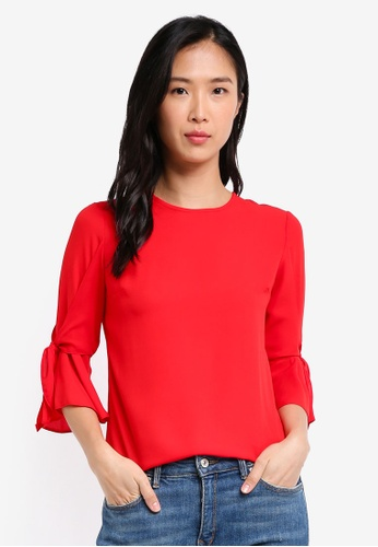 Dorothy Perkins red Cny: Red Tie Sleeve Top DO816AA0SKSSMY_1