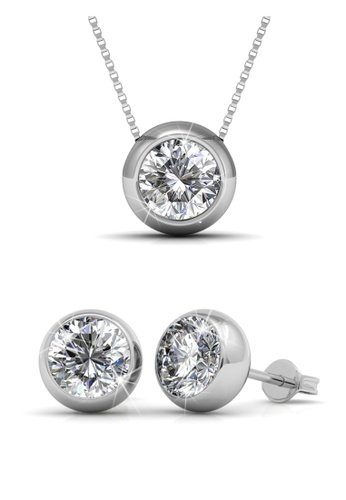 Her Jewellery silver Swarovski® Crystals - Moon Set (18K White Gold Plated) Her Jewellery HE581AC0RBI5MY_1