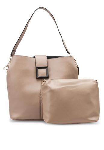 NATALIE & PEPPER brown Arial Square Tote Bag A810AAC17B447FGS_1