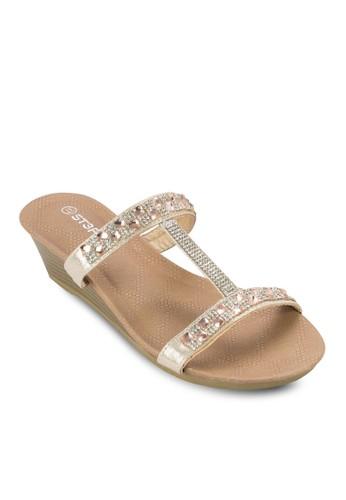 閃飾工esprit hk store字帶楔型涼鞋, 女鞋, 鞋