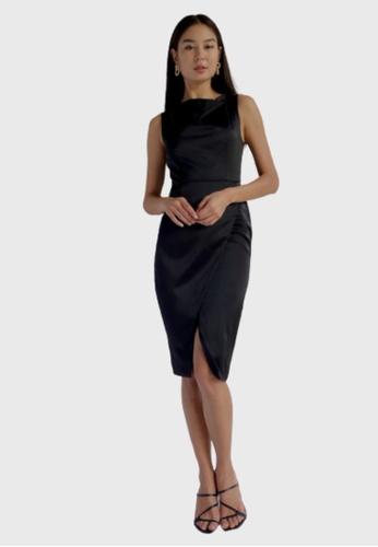 Love, Bonito black Annessa Cowl Neck Pencil Dress 8CAE0AAD01EFFDGS_1